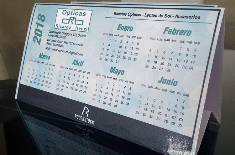 Impresión Calendarios de escritorio, Óptica Henzi