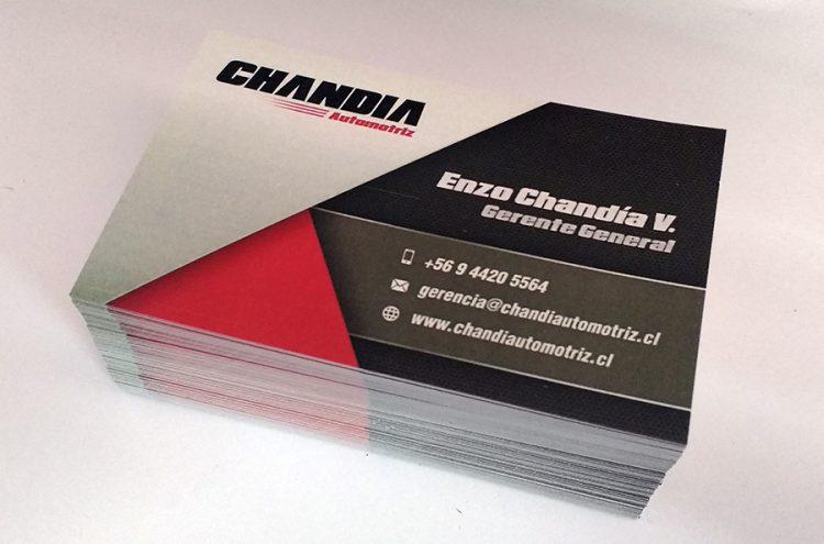 Diseño e Impresión tarjetas de presentación, Chandia Automotriz